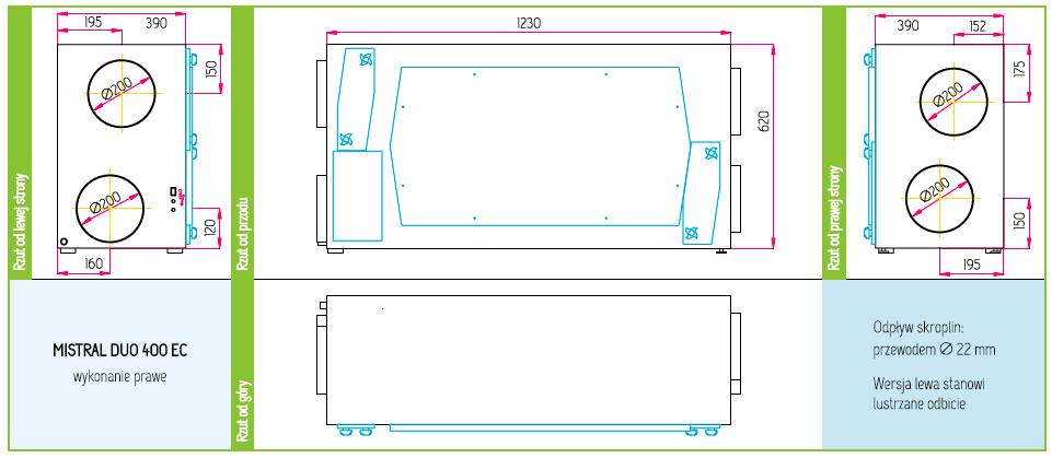 Wymiary Rekuperator Pro-Vent Mistral Duo 400 EC