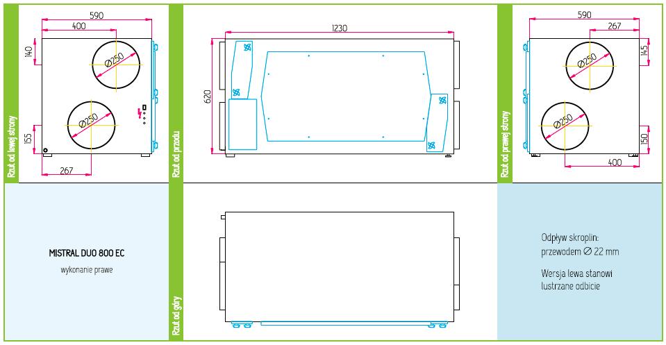 Wymiary Rekuperator Pro-Vent Mistral Duo 800 EC