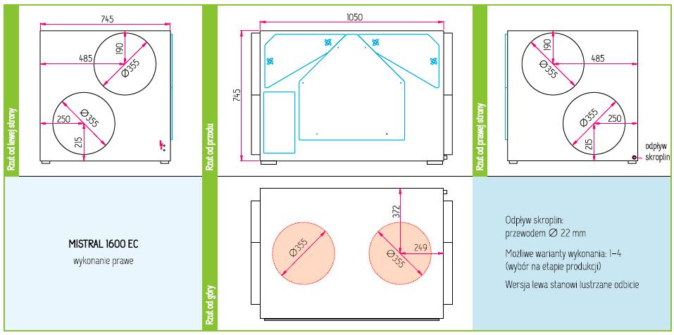 Wymiary Rekuperator Pro-Vent Mistral 1600 EC