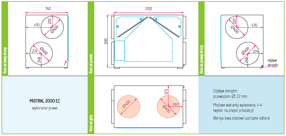 Wymiary Rekuperator Pro-Vent Mistral 2000 EC