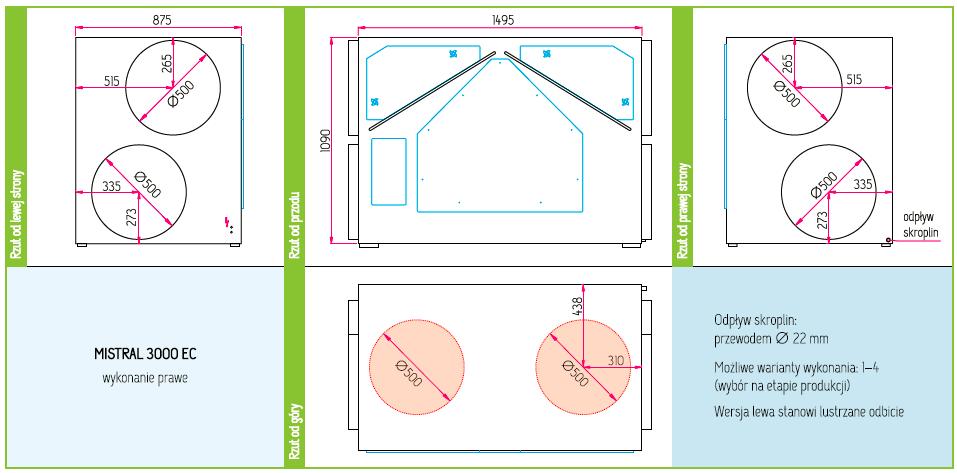 Wymiary Rekuperator Pro-Vent Mistral 3000 EC