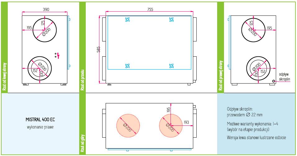 Wymiary Rekuperator Pro-Vent Mistral 400 EC