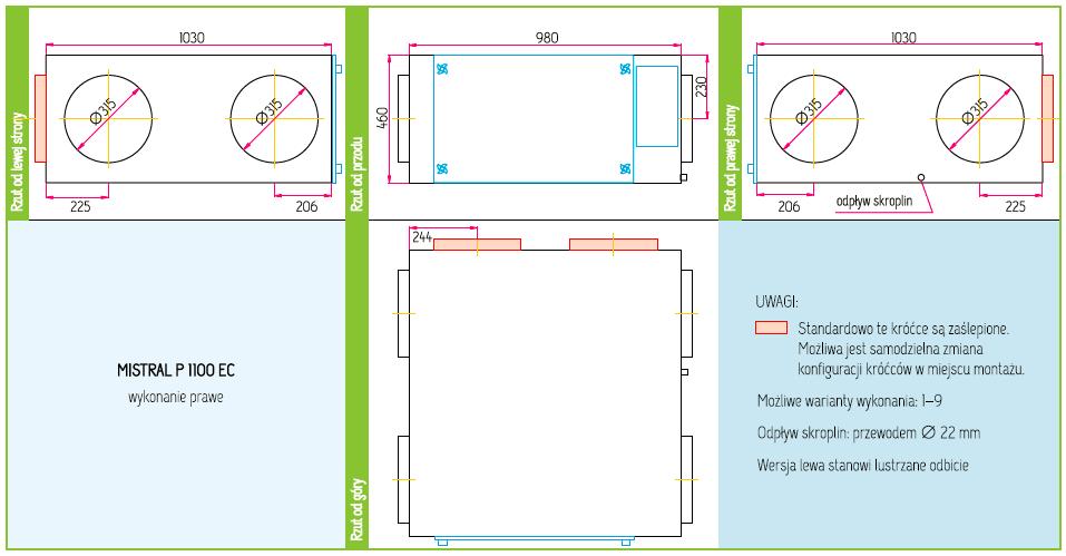 Wymiary Rekuperator Pro-Vent Mistral P 1100 EC