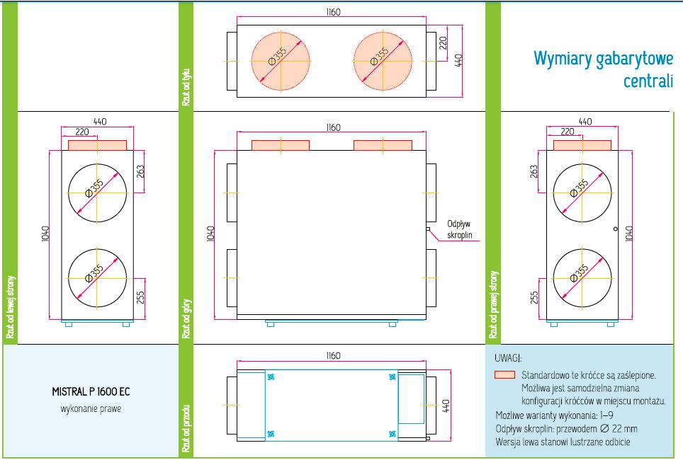 Wymiary Rekuperator Pro-Vent Mistral P 1600 EC