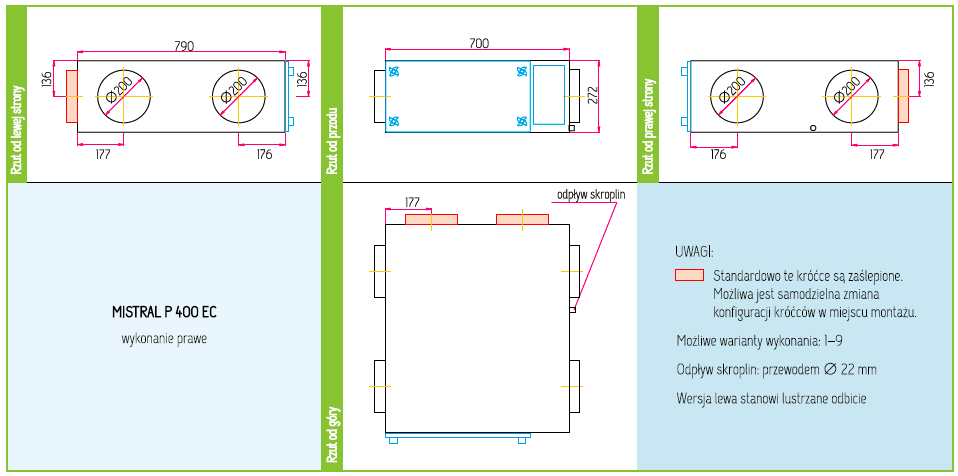 Wymiary Rekuperator Pro-Vent Mistral P 400 EC