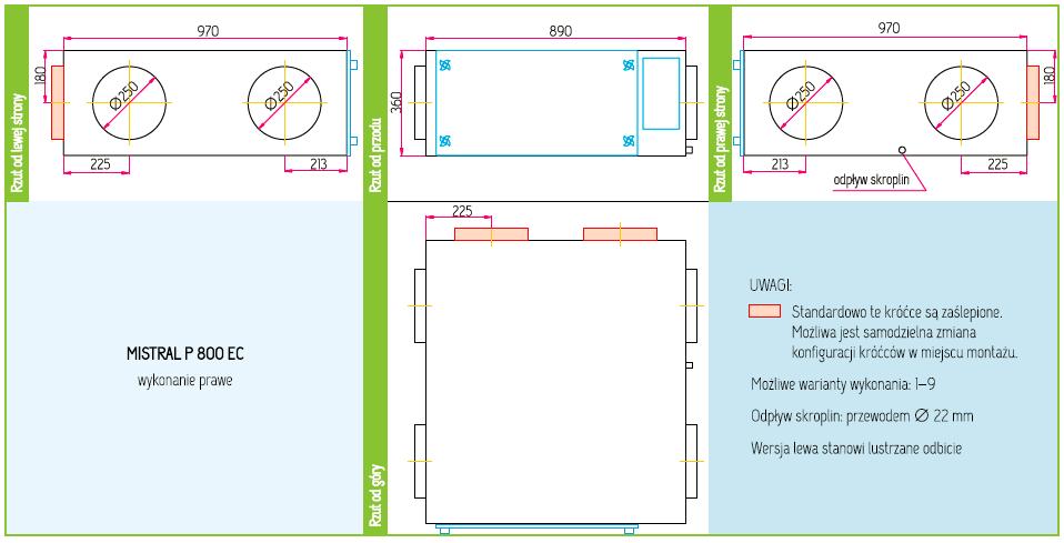 Wymiary Rekuperator Pro-Vent Mistral P 800 EC