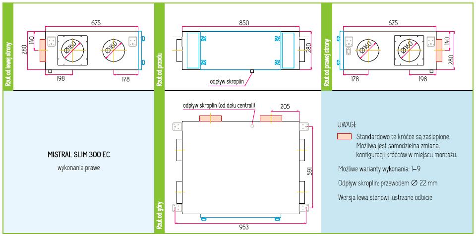 Wymiary Rekuperator Pro-Vent Mistral Slim 300 EC