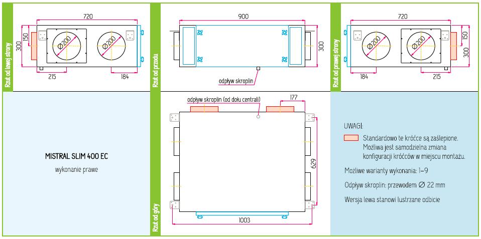 Wymiary Rekuperator Pro-Vent Mistral Slim 400 EC