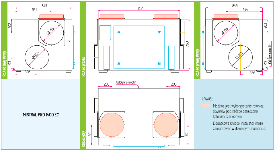 Wymiary Rekuperator Pro-Vent Mistral Pro 1400 EC