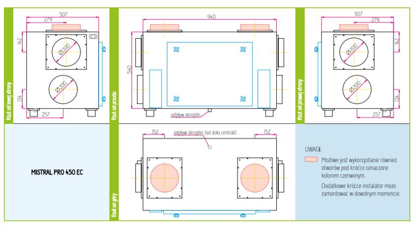 Wymiary rekuperatora Pro-vent Mistral PRO 450 EC