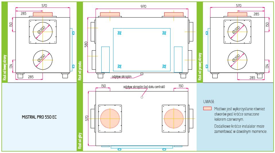 Wymiary Rekuperator Pro-Vent Mistral Pro 550 EC