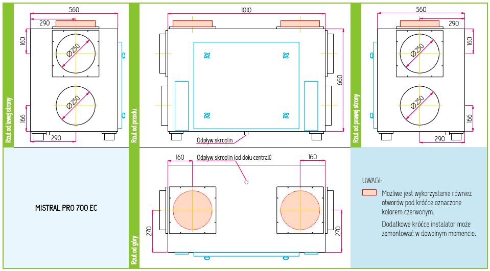 Wymiary Rekuperator Pro-Vent Mistral Pro 700 EC