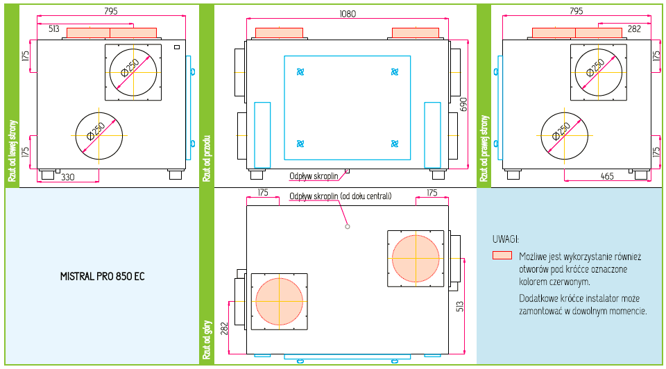 Wymiary Rekuperator Pro-Vent Mistral Pro 850 EC