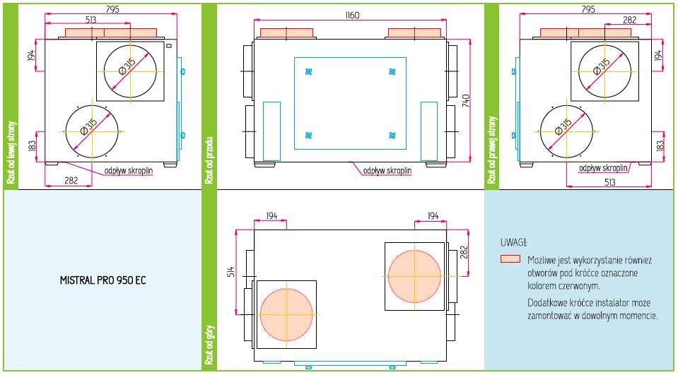 Wymiary Rekuperator Pro-Vent Mistral Pro 950 EC