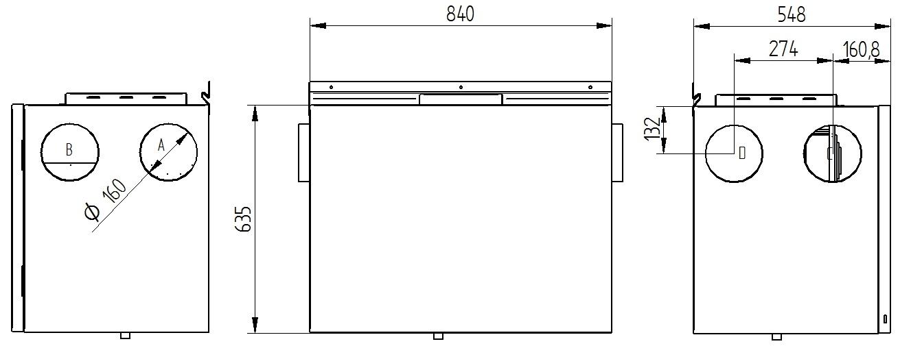 Rekuperator Wanas 350H/3 V1 wymiary