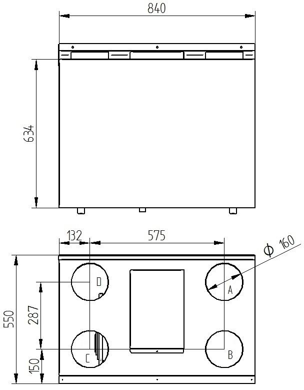 Rekuperator Wanas 350V/3 V1 wymiary