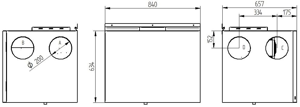 Rekuperator Wanas 550H/3 V1 wymiary