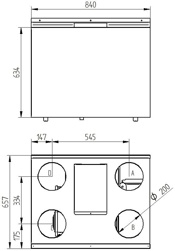 Rekuperator Wanas 550V/3 V1 wymiary