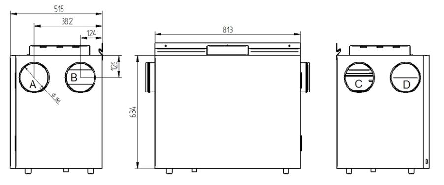 Rekuperator Wanas Basic 415H wymiary