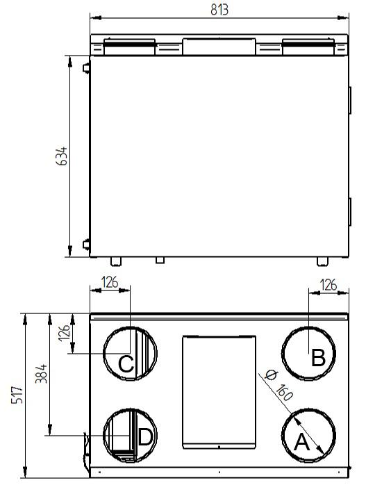 Rekuperator Wanas Basic 415V wymiary