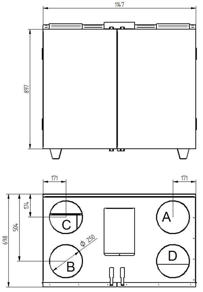 Rekuperator Wanas Basic 815V wymiary